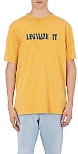 """Palm Angels Men's """"Legalize It"""" Cotton T-Shirt - Yellow"""