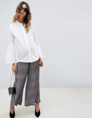 Asos DESIGN Maternity Over The Bump Wide Leg Pants In Gingham Print