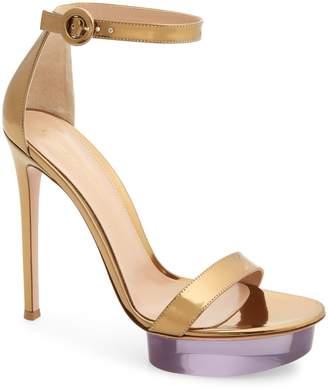 Gianvito Rossi Clear Platform Ankle Strap Sandal