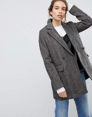 Pull&Bear Check Pea Coat