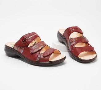 Think! Leather Adjustable Slide Sandals- Camilla