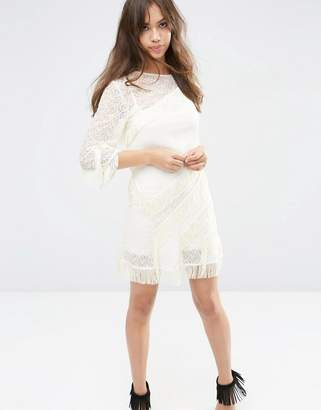 Asos Design Layered Fringe Mini Shift Dress