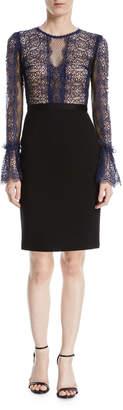 Catherine Deane Kegan Lace & Ponte Long-Sleeve Dress