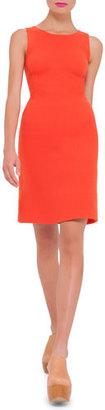 Akris Sleeveless Round-Neck Wool Sheath Dress, Zinnia $1,990 thestylecure.com