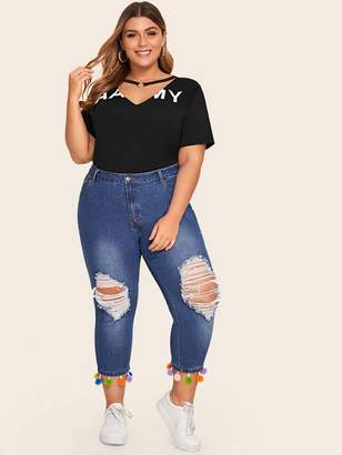 Shein Plus Ripped Pom Pom Hem Jeans