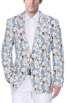 Verno Men's White Cotton Flower-print Classic-fit Blazer
