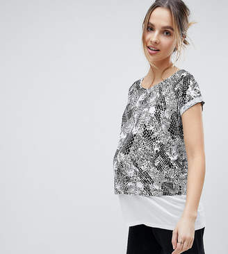 Asos Nursing Nursing T-Shirt With Double Layer In Abstract Mono Print