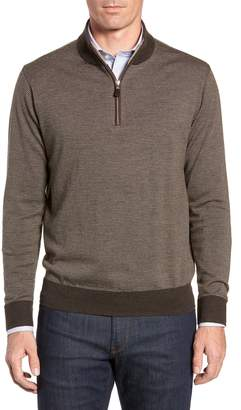 Peter Millar Needle Stripe Quarter Zip Sweater