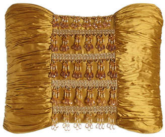 "Austin Horn Classics Royale Gold Silk Pillow with Beads, 13"" x 18"""