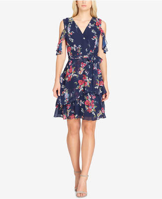 Tahari ASL Floral-Print Ruffled Fit-And-Flare Dress