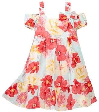 Iris & Ivy Floral Swiss Dot Cold Shoulder Dress (Little Girls)