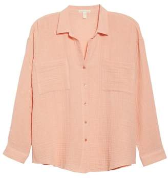 Eileen Fisher Crinkled Cotton Button Up Blouse (Regular & Petite)