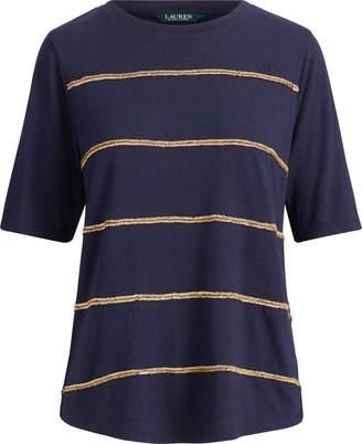 Ralph Lauren Jersey Elbow-Sleeve Top
