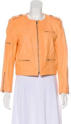 Alice + Olivia Cropped Leather Jacket