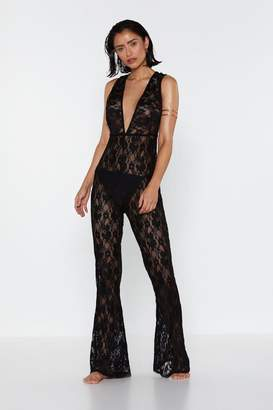Nasty Gal Life's a Beach Lace Plunging Cover-Up Jumpsuit