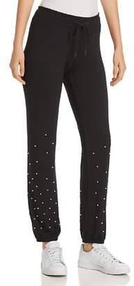 Andrew Marc Faux-Pearl Embellished Sweatpants