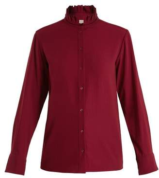 Vanessa Bruno Hemma High Neck Crepe Blouse - Womens - Burgundy