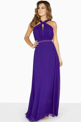 Little Mistress Frankie Purple Keyhole Maxi Dress