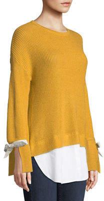 Neiman Marcus Poplin-Trimmed Crewneck Twofer Sweater