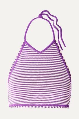 Solid & Striped The Clara Striped Crochet-knit Halterneck Bikini Top - Purple