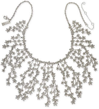 "INC International Concepts I.N.C. Silver-Tone Crystal Cluster Flower Statement Necklace, 16"" + 3"" extender, Created for Macy's"