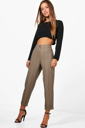 boohoo Petite Checked Tapered Trouser