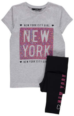 George Grey Marl New York Top and Leggings Outfit