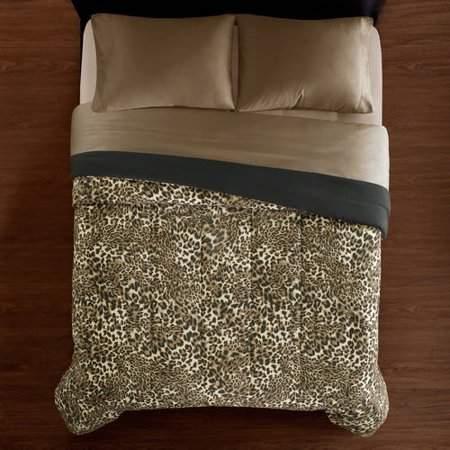 Mainstays Leopard Print Soft Microfiber Bedding Comforter, Full/Queen