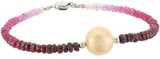 Honora Sterling Silver Cente Natural Ming Freshwater Cultu Pearls with Ruby Ombre Faceted Graduation Bracelet
