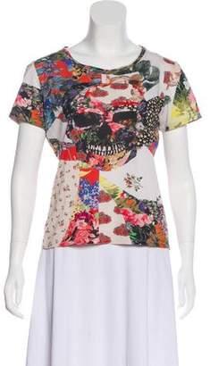 Alexander McQueen 2017 Floral Skull Print T-Shirt