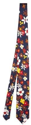 Prada Floral Print Silk Twill Tie - Mens - Blue Multi
