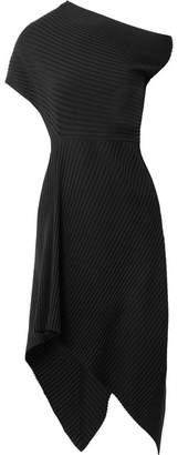 Jiana Asymmetric Ribbed Wool-blend Midi Dress - Black
