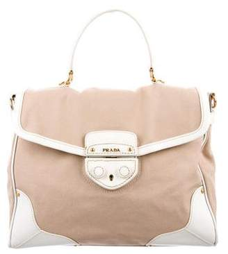 Prada Leather-Trimmed Canapa Satchel