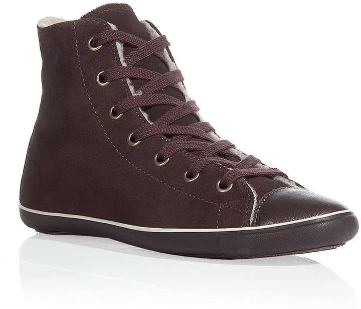 Converse Dark brown light suede and shearling high top