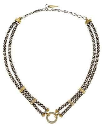 Lagos Two-Tone Diamond Enso Caviar Choker Necklace