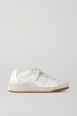 Saint Laurent Travis Logo-print Distressed Perforated Leather Sneakers - White
