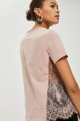 Topshop Pink Lace Side T-Shirt