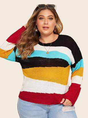 Shein Plus Cut And Sew Drop Shoulder Pullover Sweater