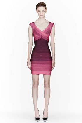 Herve Leger Fuchsia Ombre Cap-Sleeved Bandage Dress