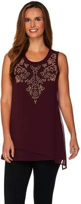 Logo By Lori Goldstein LOGO Lavish by Lori Goldstein Cotton Tank with Beaded Chiffon Overlay