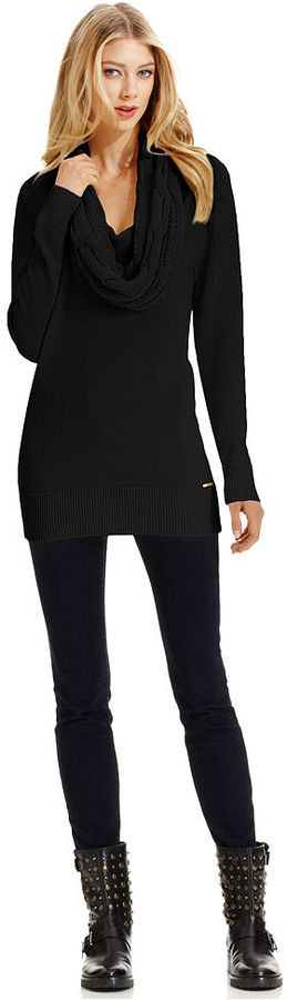 MICHAEL Michael Kors Sweater, Long-Sleeve Cable-Knit Cowl-Neck