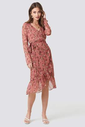 Na Kd Boho Flower Printed Wrap Dress Dusty Dark Pink