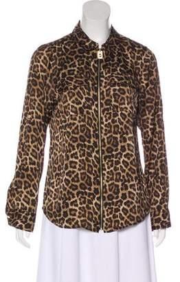 MICHAEL Michael Kors Long Sleeve Zip-Up Blouse