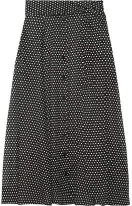 Polka-dot Cotton Maxi Skirt - Black