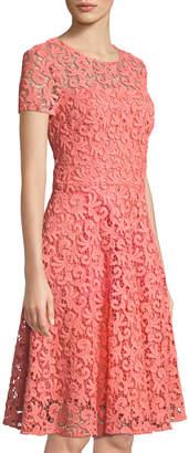 St. John Paisley Guipure Lace Jewel-Neck Dress