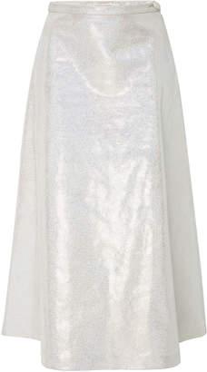 Rodarte Iridescent Leather Midi Skirt