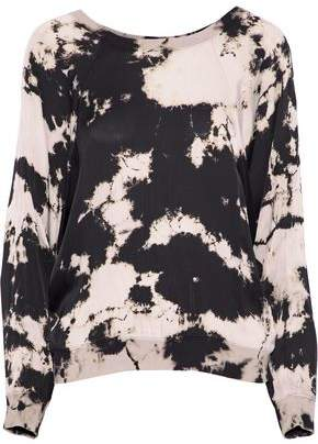 Enza Costa Tie-Dyed Satin-Jersey Top