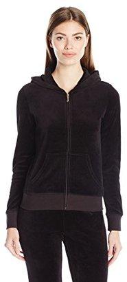 Juicy Couture Black Label Women's Logo Velour Banner Crest Original Jacket $188 thestylecure.com