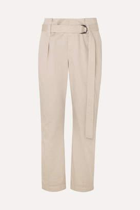 Brunello Cucinelli Belted Cotton-blend Pants - Cream