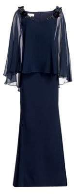 Embellished Silk Chiffon Cape Sleeve & Crepe Gown